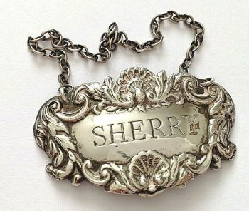 Antique sterling silver Sherry label hallmarked Birmingham 1946 J C Ltd