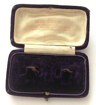 Antique Jewellery Cuff Link display box silk and velvet Sir John Bennett