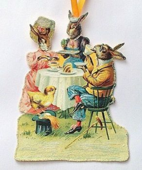 Antique Victorian style Easter bunny's taking tea decoration Hand made artisan glittered