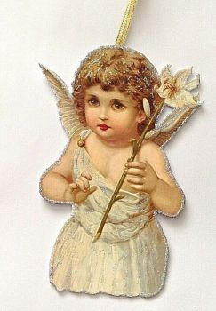 Antique Victorian style Christmas tree decoration Hand made artisan glittered Cherub