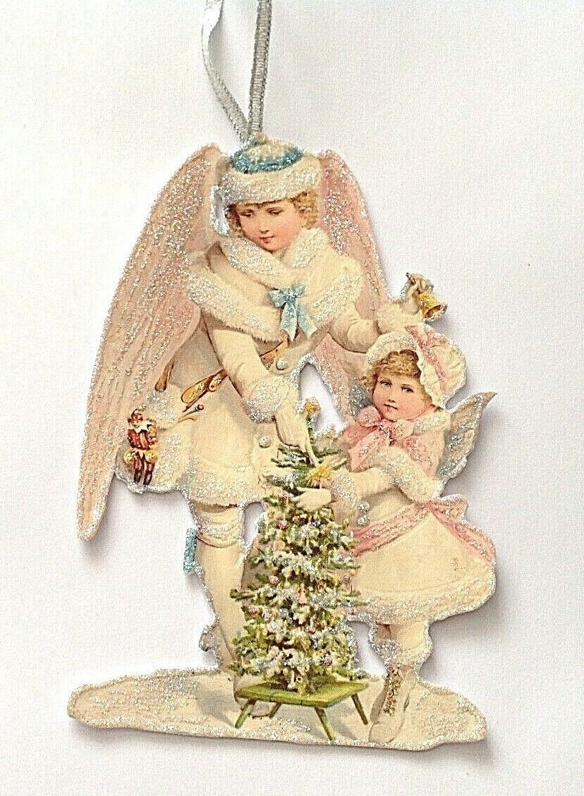 Victorian style Christmas tree decoration Hand made artisan glittered Snow
