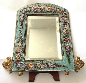 Antique Italian large Micro Mosaic frame mirror gilded griffins