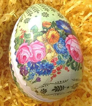Easter egg gift box Victorian antique style rose flowers floral
