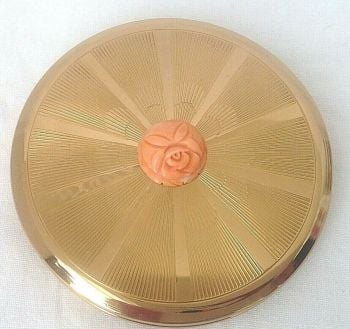 Vintage powder compact gold tone rose coral carved decoration
