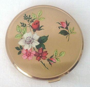 Vintage Melissa Rose Roses Powder Compact C1950s