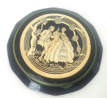 Vintage powder compact Art Deco green and black celluloid gold decoration