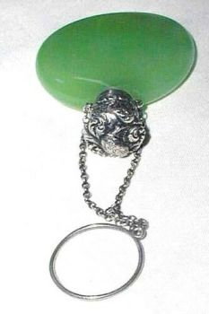 Antique Jade Glass Sterling Silver Perfume Scent Bottle
