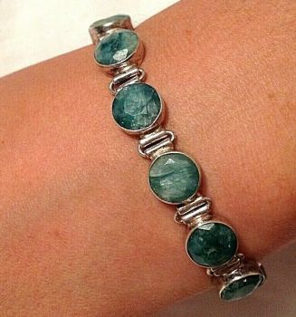 Sterling silver bracelet set with green Chrysoberyl stamped 925
