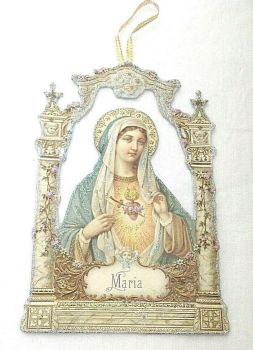 Antique Victorian style Christmas Easter decoration Mary Madonna artisan