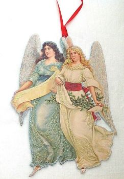 Victorian style Christmas tree decoration Hand made artisan glittered Angels
