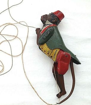 Antique tin plate German climbing mechanical monkey toy Lehmann 385