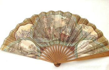 Antique perfume advertising fan L T Piver Floramye Cafe Laiglon