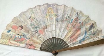 Antique perfume advertising fan L T Piver Floramye signed Adolphe L Willette
