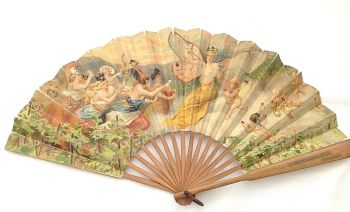 Antique French Dragonfly lady 1905 advertising fan Maurice Leloir Design