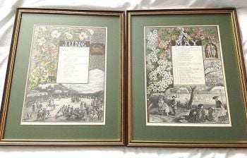 Pair of antique prints C1865 Walter Severn May June Birthday Famous People