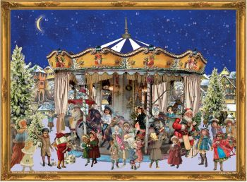Advent Calendar Father Christmas Santa Merry Go Round Carousel
