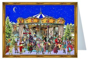 Mini Advent Calendar Christmas Card Carousel Merry Go Round