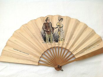 Antique perfume advertising fan Dolce Mia V Rigaud Paris French Comedian Theatre