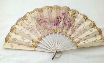 Antique perfume advertising fan Maison Jules Perrigault Cafe France French