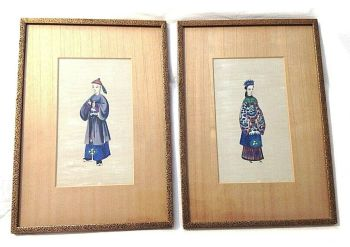 Antique Chinese pair watercolours pith paper framed Bound Foot Shoes costume