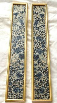 Antique Chinese embroidered embroidery sleeve panels pair framed flowers
