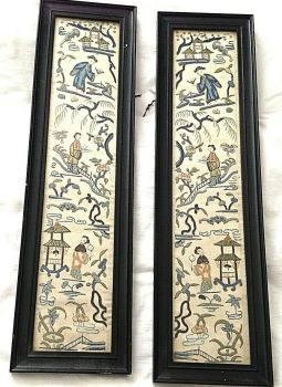 Antique Chinese embroidered embroidery sleeves pair figures flowers birds