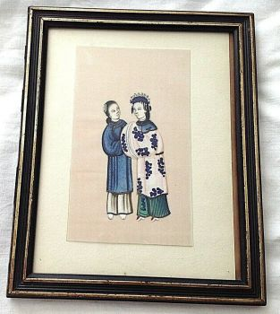 Antique Chinese watercolour pith paper framed embroidery robe shoes women