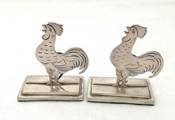 Antique pair of Sterling Silver Hallmarked menu holders cockerels birds C1910