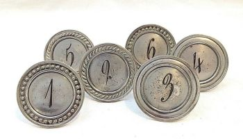 Antique silver plate set of six napkin rings numbered 1 to 6
