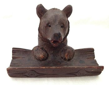 Antique carved Black Forest bear wooden ink well and pen stand