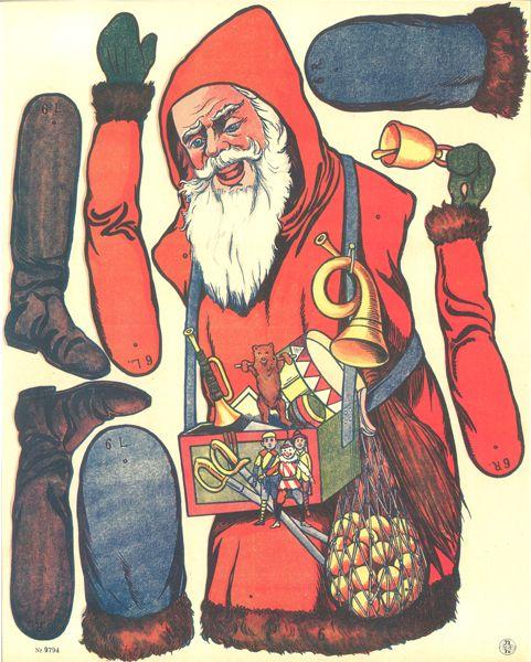 Cut out sheet Jumping Jack Santa Claus Father Christmas 9794
