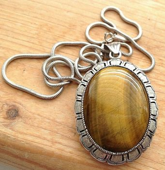 Large vintage Sterling Silver Tigers eye Mexico Necklace Pendent