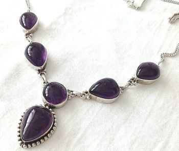 Sterling Silver Amethyst drippy Necklace Pendent stamped 925
