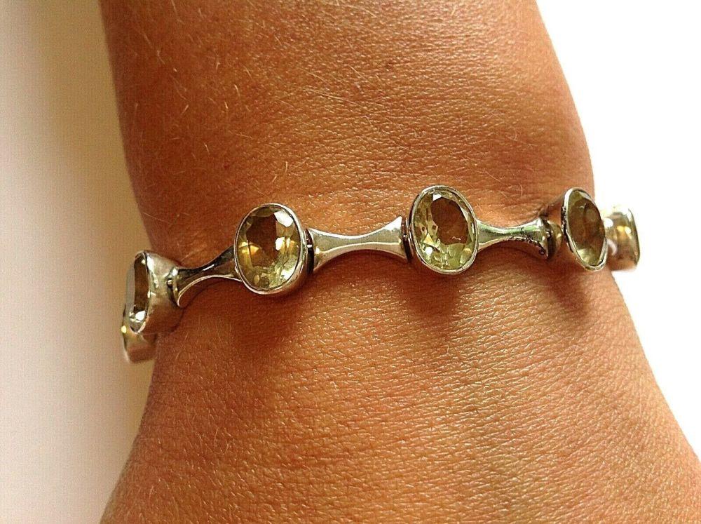 Large Sterling Silver Smokey Quartz stone bracelet