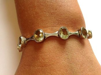 Sterling silver bracelet Citrine stones beautiful quality