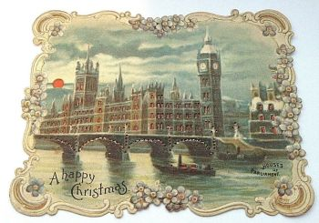 Antique post card light up Houses of Parliament Hold to the window