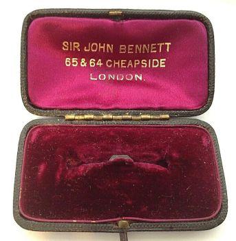 Antique jewellery display brooch pin box cerise velvet & silk Sir John Bennett
