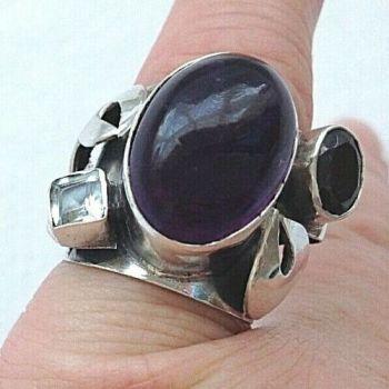 Artisan sterling silver Amethyst Garnet Aquamarine ring