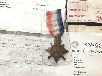 Antique medal kings own Yorkshire light infantry 1914-15 John Thomas Smith