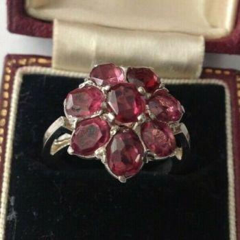 Antique vintage pink morganite Rubellite sterling silver large ring