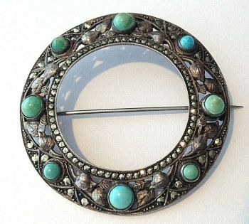 Antique vintage Arts & Crafts sterling silver Turquoise brooch pin