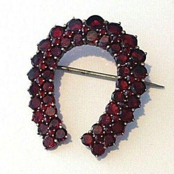 Antique Garnet Horse Shoe Brooch Pin