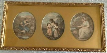Antique Victorian Georgian engraved prints trio gilded frame