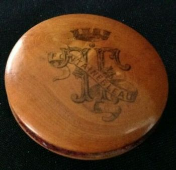 Antique treen ware pin wheel Fontainebleau Crest