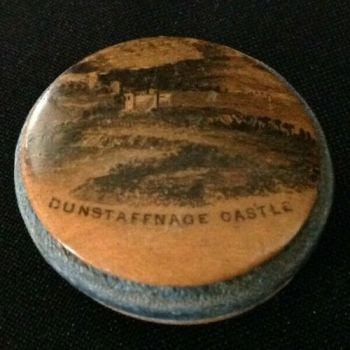 Antique treen Mauchline ware pin wheel Dunstaffnage Castle