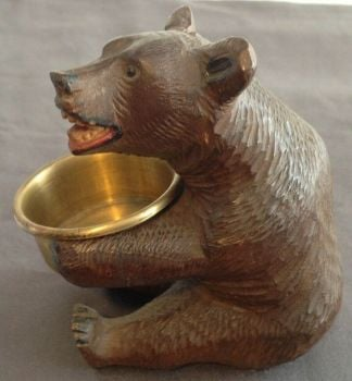 Antique carved wood wooden Black Forest bear trinket pot