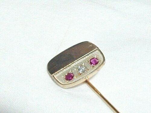 Vintage 9 ct Gold Ruby Diamond Stick Pin Stock Wedding Pin Hallmarked