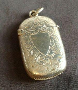 Antique sterling silver Vesta case match safe hallmark Birmingham 1897