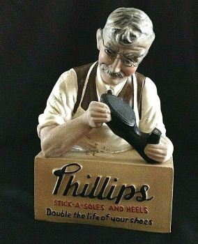 Antique advertising bust for Phillips shoes cobbler all original with glasses