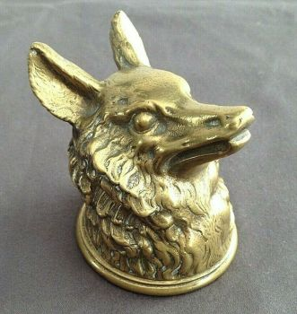 Antique brass or bronze fox or wolf head pen wipe novelty hunting related